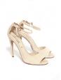 Sandales à talon en suède beige nude bride cheville et bout ouvert NEUVES Px boutique 560€ Taille 38,5