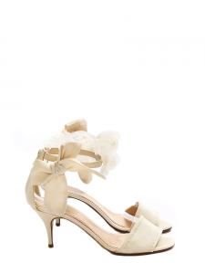 Ivory canvas open toe sandals embellished with organza cherry blossom ankle strap Retail price €700 Size 37.5