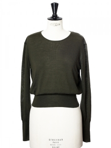 Khaki green fine wool long sleeves scoop neck sweater Retail price €850 Size 36