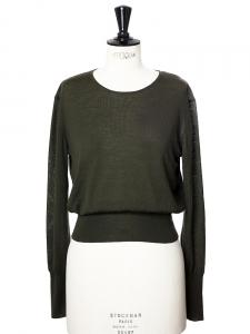 Pull col rond manches longues en laine fine vert kaki Px boutique 850€ Taille 36