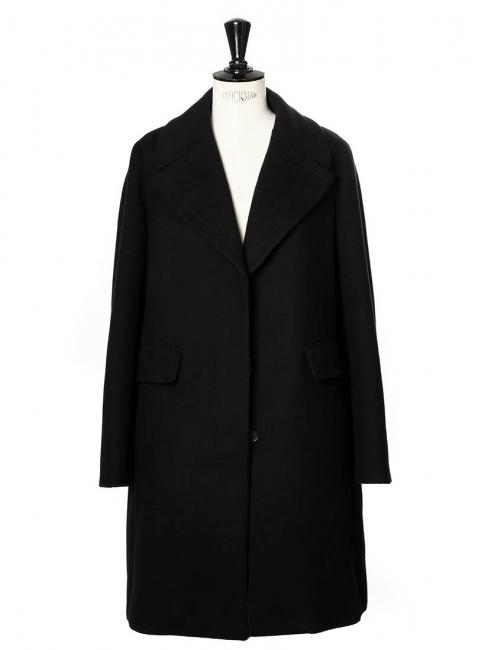 Manteau SONJA en laine vierge et coton brossé noir NEUF Px boutique 2450€ Taille 36