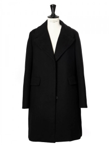 SONJA Black brushed cotton and virgin wool coat NEW Retail price €2450 Size 34