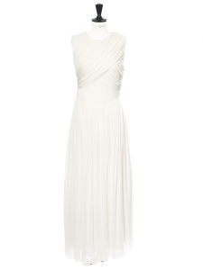 White silk draped sleeveless wedding dress NEW Retail price €3000 Size 36