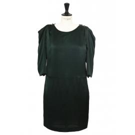 English green silk satin puff sleeves dress Retail price €1900 Size 38/40