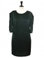 English green silk satin puff sleeves dress Retail price €1900 Size 38/40