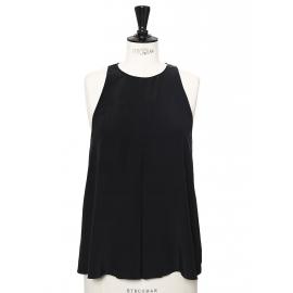Black silk crepe A-line tank top Retail price €550 Size 38