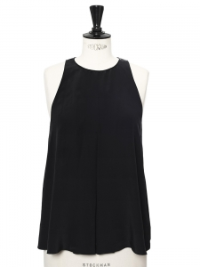 Black silk crepe A-line tank top Retail price €550 Size 38