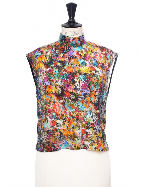 Multicolored floral print silk sleeveless top NEW Retail price €200 Size 36