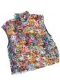 Top sans manches en soie imprimé fleuri multicolore NEUF Px boutique 200€ Taille 36
