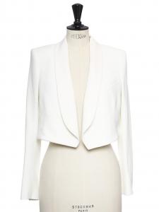 Veste blazer boléro en crêpe blanc NEUF Px boutique 1100€ Taille 36