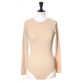 LEROY nude beige stretch-jersey long sleeves bodysuit NEW Retail price €160 Size XS