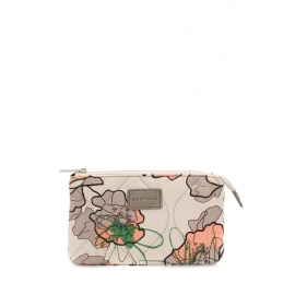 Grey pink and green printed quilted cotton zipped pouch Unique size