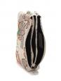 Pochette zippée en molleton de coton imprimé gris, rose et vert Taille unique
