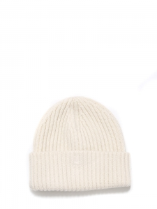 Ivory white knitted cashmere hat Retail price €120 Unique size