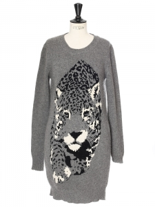 Snow leopard printed wool and cachemire blend grey sweater dress Retail price €750 Size 34/36
