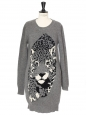 Snow leopard printed wool and cashmere blend grey sweater dress Retail price €750 Size 34/36
