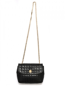 Black quilted leather cross body bag with golden brass chain