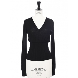 Black fine wool corset-like sweater Retail price €450 Size 34/36