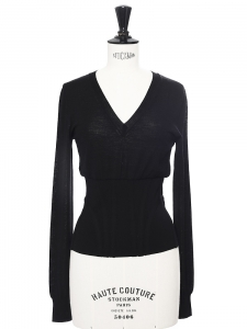 Black fine wool corset-like sweater Retail price €450 Size 34/36