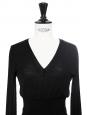 Pull corset col V en laine fine noire Px boutique 450€ Taille 34/36