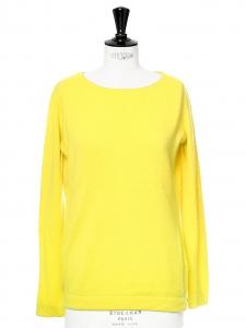 Pull col rond manches longues en cachemire jaune citron Px boutique 230€ Taille 36/38
