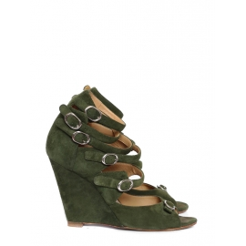 Khaki green multi-strap wedge sandals Retail price $760 Size 40