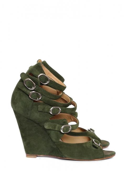Sandales multi strap compensées en suede vert kaki Px boutique 600€ Taille 40