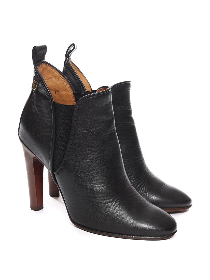 louise paris - chloe bottines à talon piper low boots en cuir noir