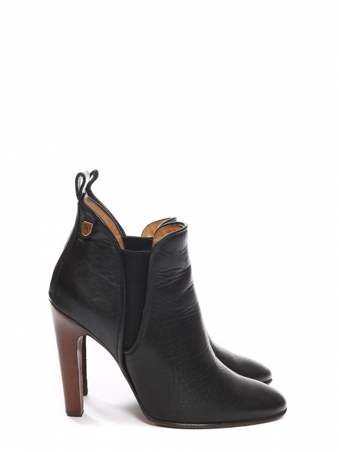 Bottines à talon PIPER low boots en cuir noir Px boutique 640€ Taille 37,5