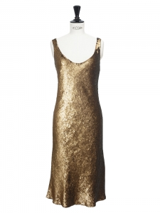 Copper gold sequin embroidered silk cocktail dress Retail price €500 Size 36
