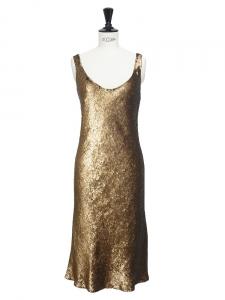 Robe de cocktail décolleté mi-longue brodée de sequins bronze doré Px boutique 500€ Taille 36