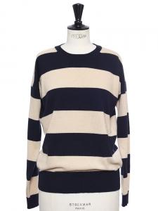 Pull col rond en laine vierge et cachemire rayé beige et bleu nuit Px boutique 600€ Taille 36