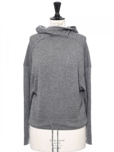 Dark grey cashmere hooded sweater NEW Retail price €500 Size 34/36