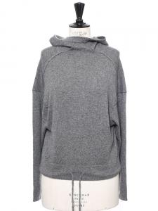 Sweat manches longues à capuche en cachemire gris NEUF Px boutique 500€ Taille 34/36