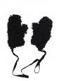 Moufles MM6 gants oversize en laine noire effet bouclé NEUVES Prix boutique 200€