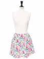 Pink white yellow blue green floral printed cotton mini skirt Size 36