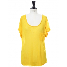 Super fine and soft mimosa yellow short sleeved shirt Retail price €90 Size 38