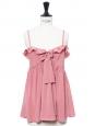 Top débardeur à fines bretelles babydoll en soie rose Px boutique 880€ Taille 34