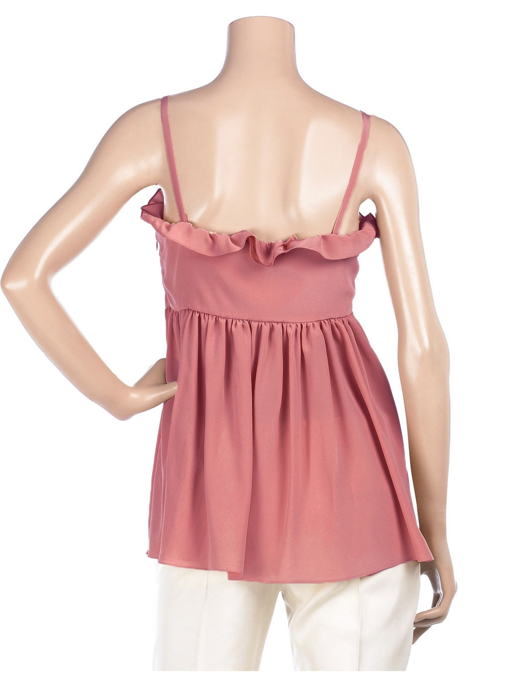 Louise Paris Chloe Pink Ruffle Silk Babydoll Top Retail