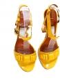 LANVIN Rare sandales en cuir verni jaune canari Px boutique 720€ Taille 37