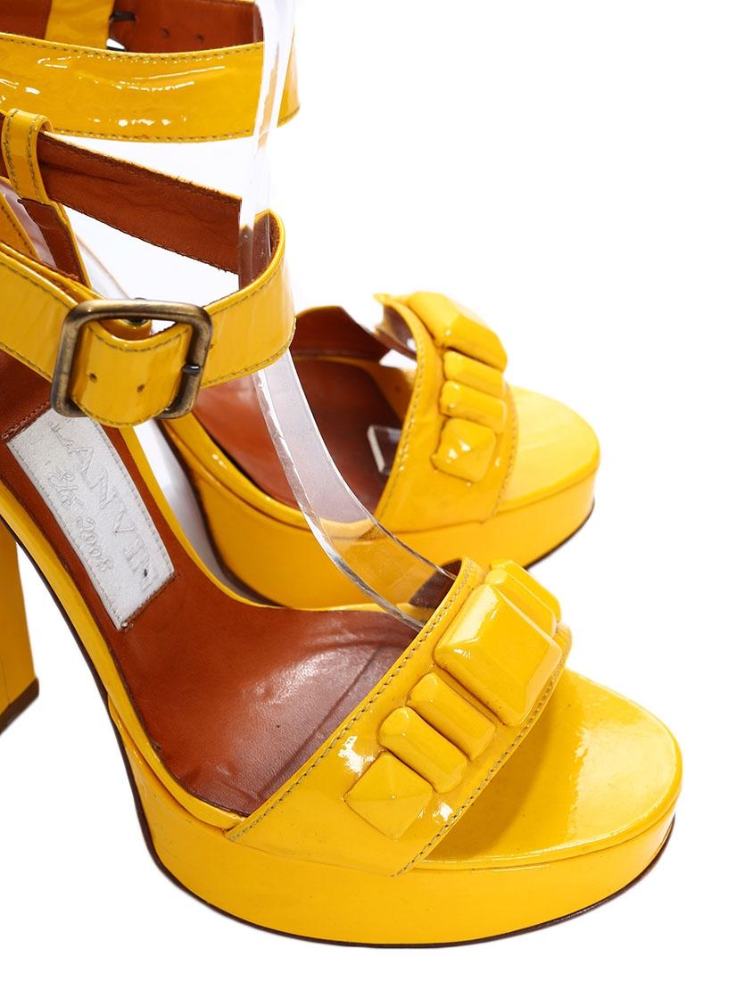 Louise Paris Lanvin Bright Yellow Patent Heel Sandals