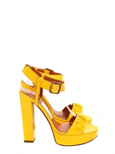 LANVIN Rare bright yellow patent heel sandals Retail price 720€ Size 37