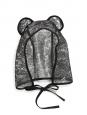 Chapeau LARA capuche de pluie imperméable avec oreilles d'ours en dentelle noire Px boutique 300€