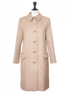 Light camel beige cotton canvas classic tailored coatRetail price €1800 Size 34