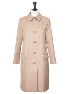 Manteau droit en drap de coton beige camel Px boutique 1800€ Taille 34/36