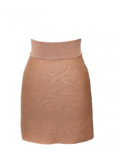 Tan brown ribbed merino wool pencil skirt Retail price €490 Size 36