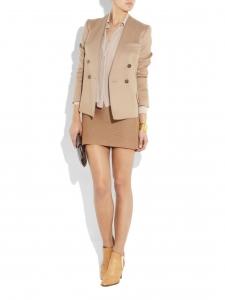 Jupe crayon en maille de laine côtelée camel Px boutique 490€ Taille 36