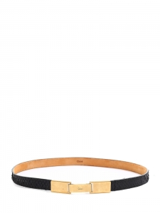 Black leather belt with gold buckle NEW Retail price €450 Size S