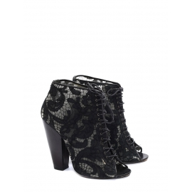 Black lace and leather heeled ankle boots sandals Retail price €650 Size 38
