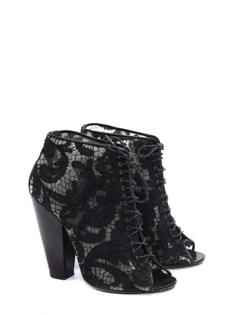 351644145c Black lace and leather heeled ankle boots sandals Retail price €650 Size 38